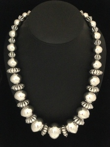 Graduated Big Fluted Bead Necklace